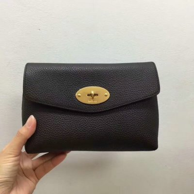 2018 New Mulberry Darley Cosmetic Pouch Chocolate Small Classic Grain