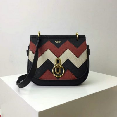 2017 Latest Mulberry Small Amberley Satchel Black,Rust & Chalk Zig Zag Small Classic Grain