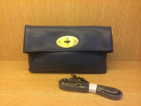 Mulberry Oversized Clemmie Clutch in Navy Blue Leather