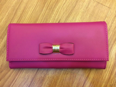 2014 Mulberry Bow Continental Purse MN3567 in Mulberry Pink