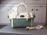 2015 Cheap Mulberry Mini Bayswater Buckle Jungle Green & Cream Woven Leather & Flat Calf