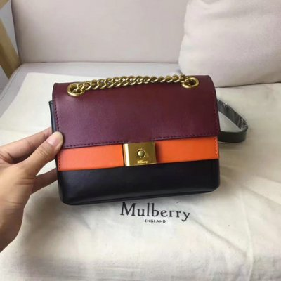 2017 Summer Mulberry Mini Cheyne Bag Oxblood,Bright Orange & Black Smooth Calf