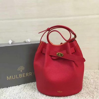 2017 Spring Mulberry Abbey Bucket Bag in Red & Orange Grain Leather