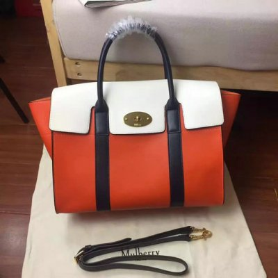 2017 Summer Mulberry Bayswater with Strap Orange,Chalk & Midnight Smooth Calf