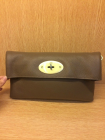 Mulberry Oversized Clemmie Clutch in Grey Leather