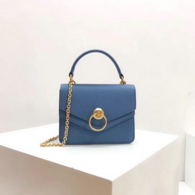 2018 Mulberry Small Harlow Bag Blue Classic Grain Leather