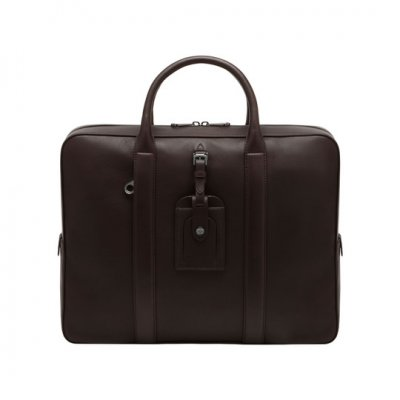 Mulberry Matthew Single Document Case Chocolate Micrograin Calf