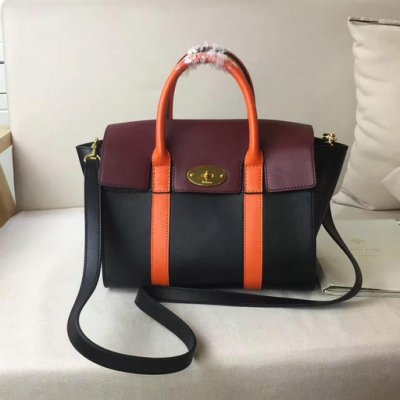 2017 Summer Mulberry Small New Bayswater Black,Burgundy & Orange Smooth Calf