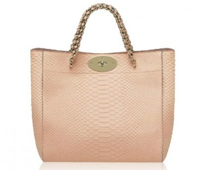 Mulberry Cecily Tote Bag Pink Snake Print Leather