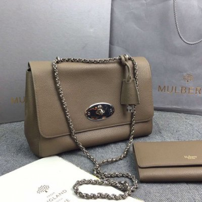 2016 Mulberry Medium Lily Bag in Dark Khaki Soft Grain Leather
