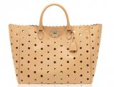 Mulberry Oversized Cut out Flower Tote Natural Classic Saddle