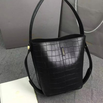 2016 Spring Mulberry Small Kite Tote Bag in Black Deep Embossed Croc Print Leather