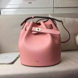 2017 Spring Mulberry Abbey Bucket Bag in Macaroon Pink & Scarlet Grain Leather
