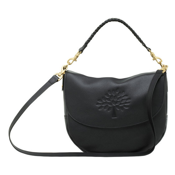 Mulberry Effie Satchel in Black Spongy Pebbled Leather