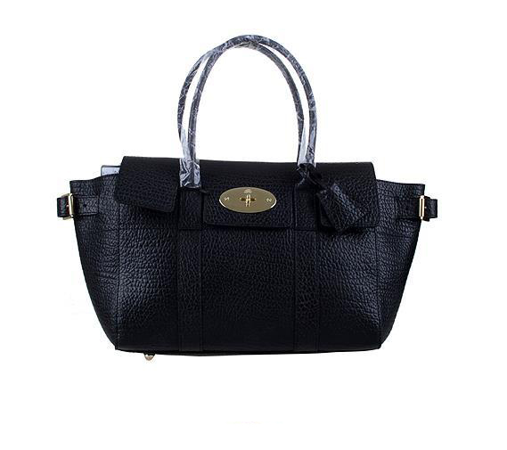2014 Latest Mulberry Bayswater Buckle Bag in Black Shrunken Calf