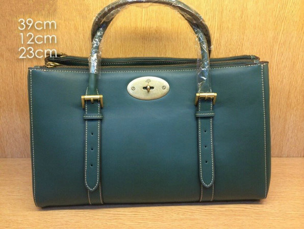 2014 Mulberry Bayswater Double Zip Tote in Pheasant Green Leather
