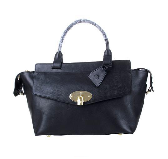 2014 Latest Mulberry Blenheim Tote in Black Natural Leather