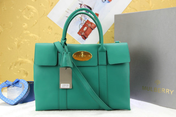 Mulberry Double Sided Bayswater Tote in Green Leather