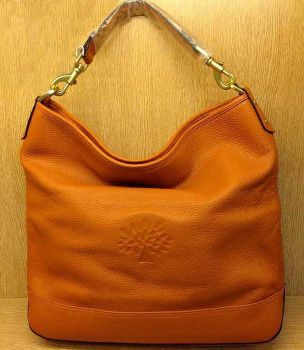 Mulberry Effie Hobo in Orange Spongy Pebbled Leather