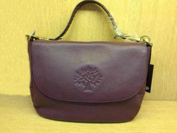 Mulberry Effie Satchel in Purple Spongy Pebbled Leather