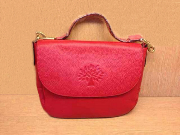 Mulberry Effie Satchel in Red Spongy Pebbled Leather