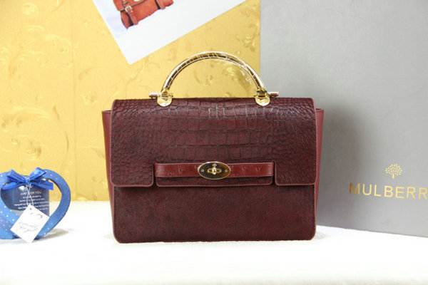 Mulberry Large Bayswater Shoulder in Burgundy Printed & Plain Hair Calf Mix