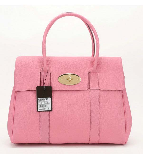 2014 Latest Mulberry Pocket Bayswater Tote in Pink Soft Grain Leather