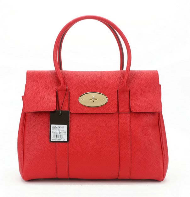 2014 Latest Mulberry Pocket Bayswater Tote in Red Soft Grain Leather