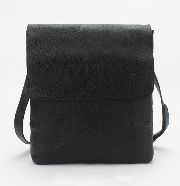 2014 New Mulberry Reporter Cross-Body Bag with Flap Black Soft Grain Leather
