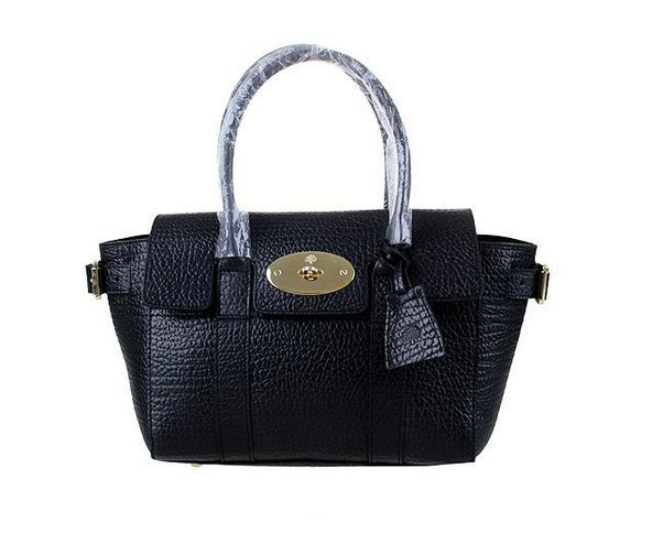 2014 Latest Mulberry Small Bayswater Buckle Bag in Black Shrunken Calf