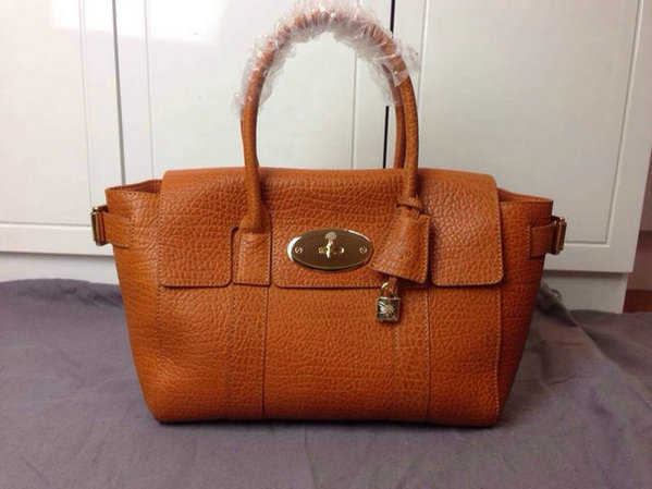 2014 Latest Mulberry Small Bayswater Buckle Bag in Orange Shrunken Calf
