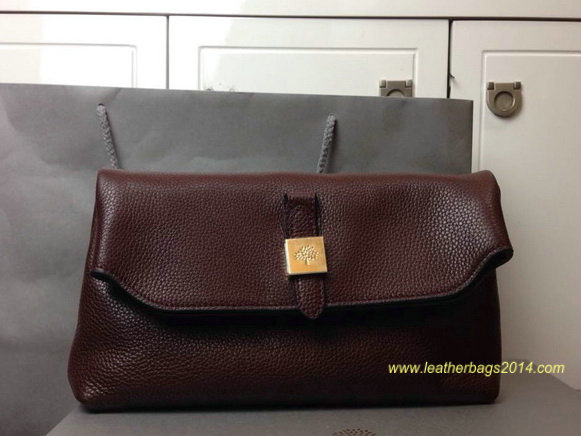 2014 Fall/Winter Mulberry Tessie Clutch in Oxblood Soft Grain Leather