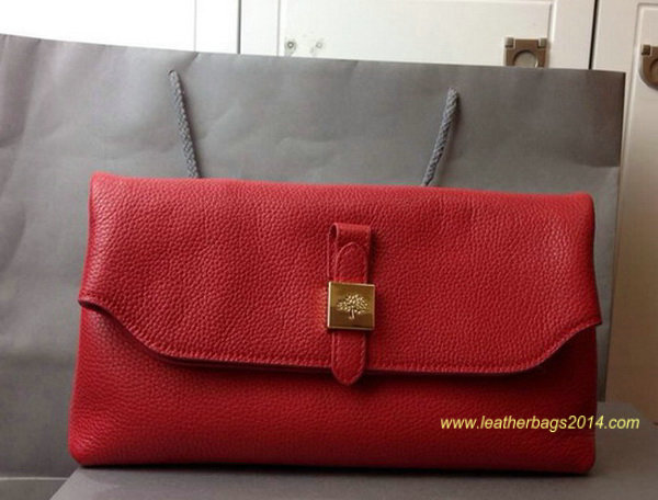 2014 Fall/Winter Mulberry Tessie Clutch in Poppy Red Soft Grain Leather