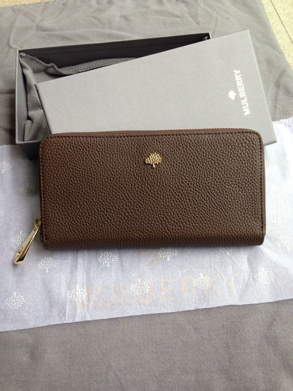 Mulberry Tree Zip Around Wallet Taupe Glossy Goat