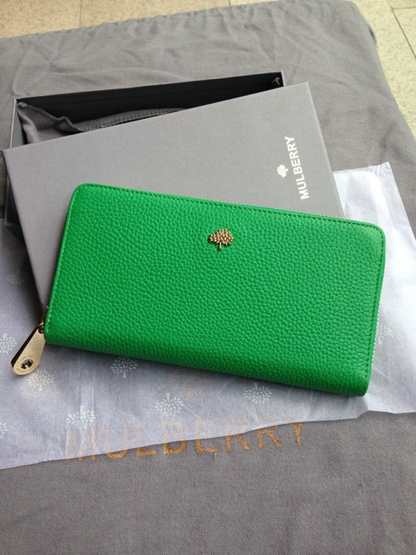 Mulberry Tree Zip Around Wallet Green Glossy Goat