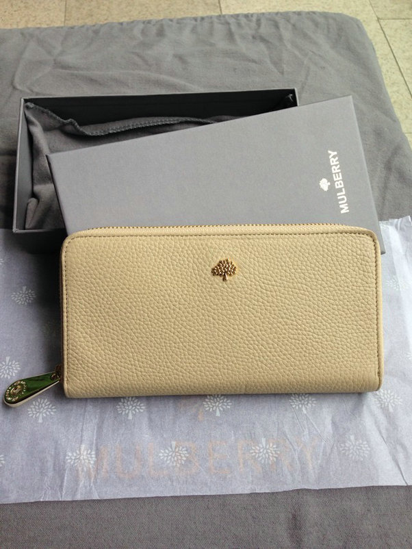 Mulberry Tree Zip Around Wallet Beige Glossy Goat
