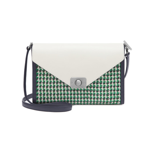 2015 Cheap Mulberry Delphie Sholder Bag Jungle Green, Midnight Blue & Cream Flat Calf Leather