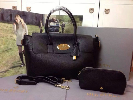 2015 A/W Mulberry Bayswater Buckle Bag Black Small Grain Leather
