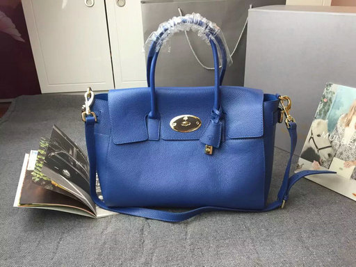 2015 A/W Mulberry Bayswater Buckle Bag Blue Small Grain Leather