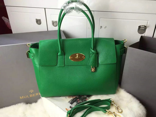 2015 A/W Mulberry Bayswater Buckle Bag Green Small Grain Leather