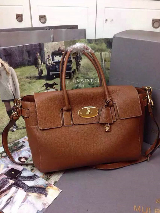 2015 A/W Mulberry Bayswater Buckle Bag Oak Small Grain Leather