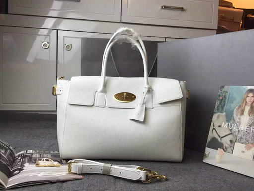 2015 A/W Mulberry Bayswater Buckle Bag White Small Grain Leather