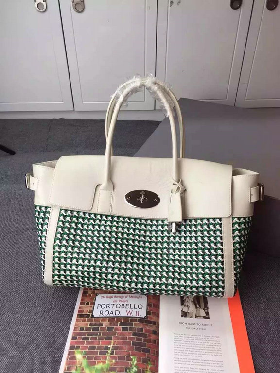 2015 Cheap Mulberry Bayswater Buckle Bag Jungle Green & Cream Woven Leather & Flat Calf