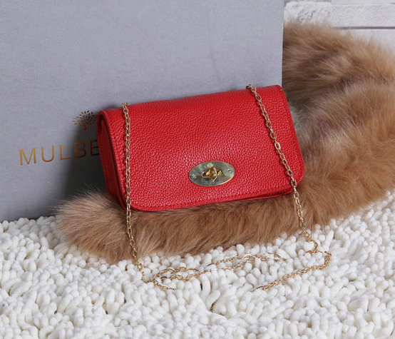 2015 Mulberry Bayswater Clutch Wallet Red Grainy Leather