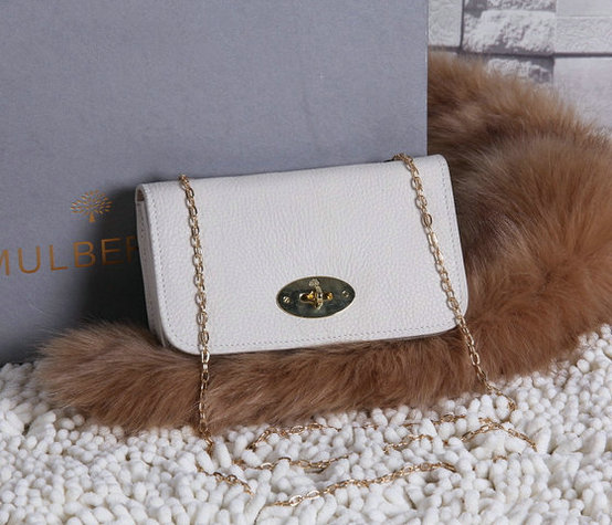 2015 Mulberry Bayswater Clutch Wallet White Grainy Leather