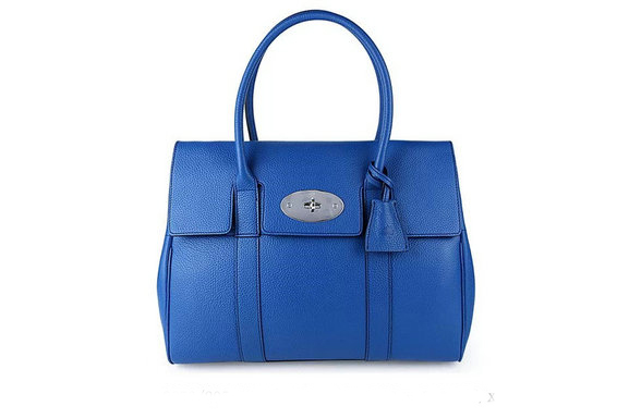 2015 New Mulberry Bayswater Black Small Classic Grain with Sea Blue