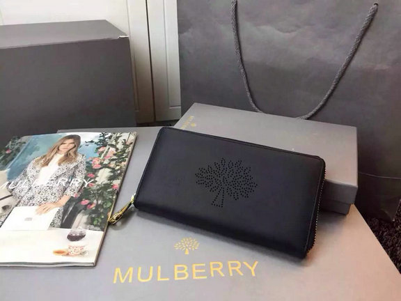 2015 Latest Mulberry Blossom Zip Around Wallet Black Calf Nappa Leather