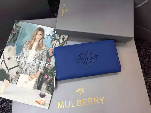 2015 Latest Mulberry Blossom Zip Around Wallet Sea Blue Calf Nappa Leather
