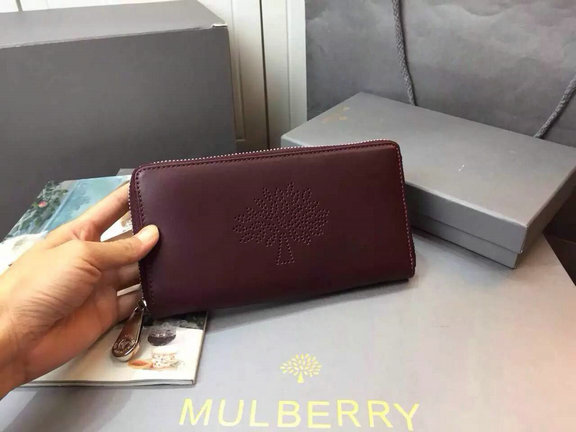 2015 Latest Mulberry Blossom Zip Around Wallet Oxblood Calf Nappa Leather
