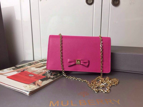 2015 Cheap Mulberry Goat Leather Bow Clutch Wallet in Mulberry Pink